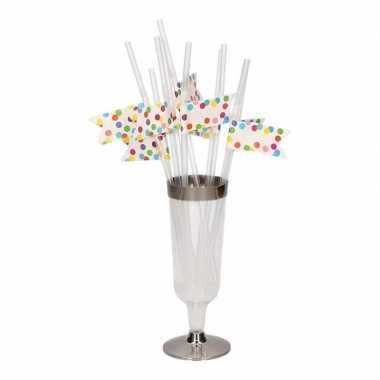 10x confetti thema feest rietjes van plastic 24 cm