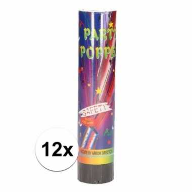 12x party poppers confetti 20 cm