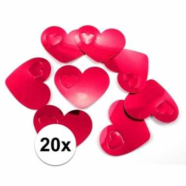 20 vvalentijn confetti rode hartjes xl