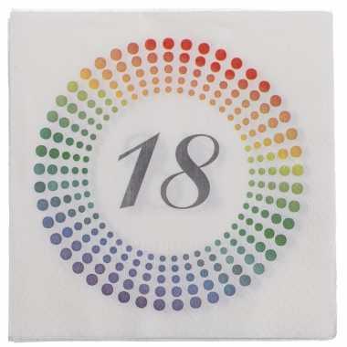 20x leeftijd 18 jaar themafeest/verjaardag servetten 33 x 33 cm confetti