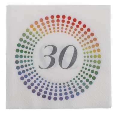 20x leeftijd 30 jaar themafeest/verjaardag servetten 33 x 33 cm confetti