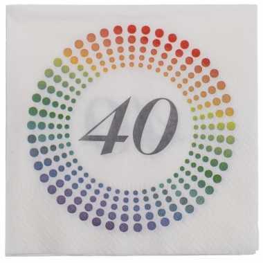 20x leeftijd 40 jaar themafeest/verjaardag servetten 33 x 33 cm confetti
