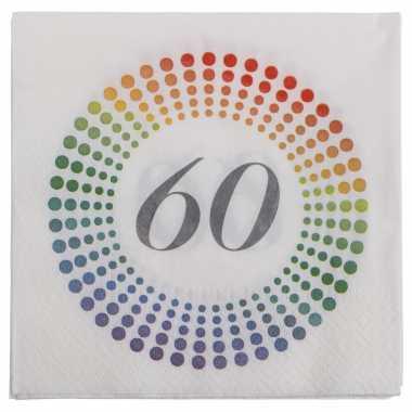 20x leeftijd 60 jaar themafeest/verjaardag servetten 33 x 33 cm confetti