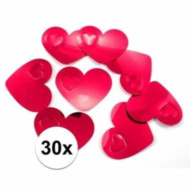 30 vvalentijn confetti rode hartjes xl