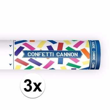 3x confetti shooters kleuren mix 20 cm