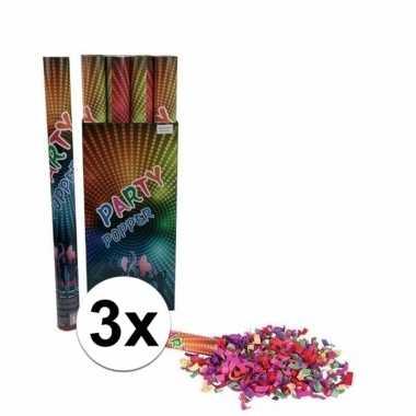 3x confetti shooters multi-color 60 cm
