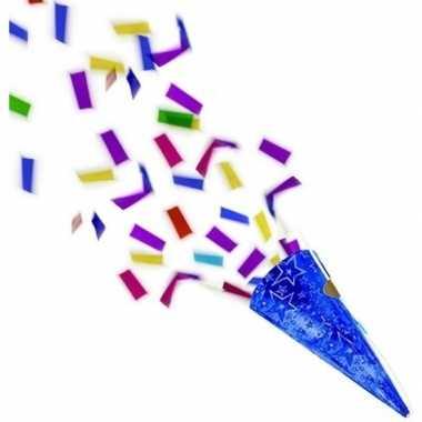 4x blauwe partypopper met folie confetti