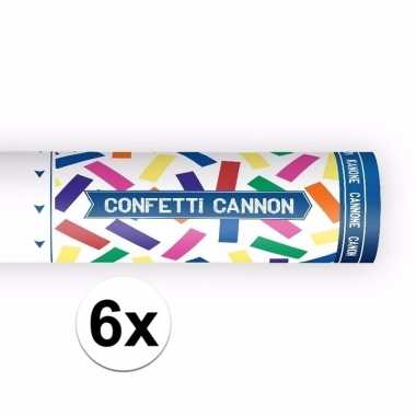 6x confetti shooters kleuren mix 20 cm