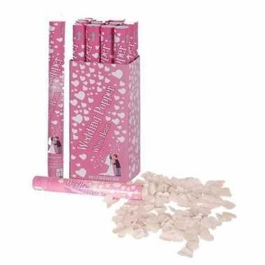 6x confetti shooters witte hartjes 40 cm