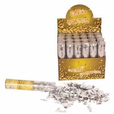 6x confetti shooters zilver 20 cm