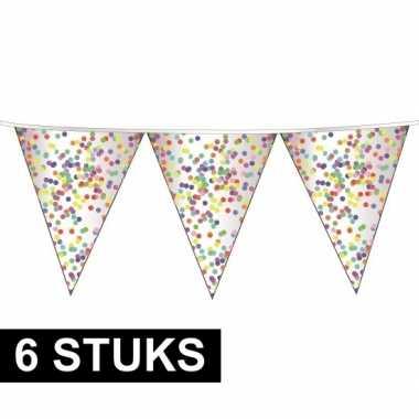 6x confetti versiering vlaggenlijn 10 meter
