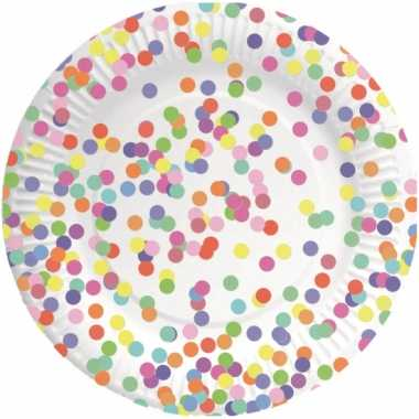 8x confetti thema feest borden van karton 23 cm