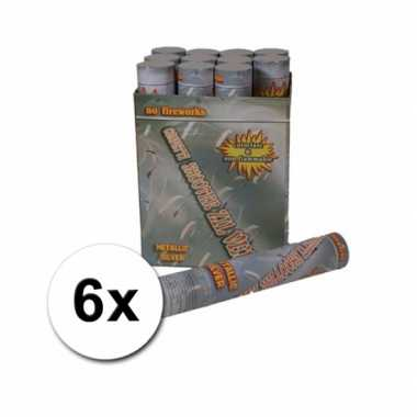 Confetti kanonnen 30 cm zilver 6x