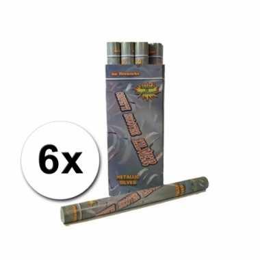 Confetti kanonnen 60 cm zilver 6x