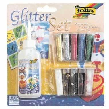 Glitter en confetti set met lijm 11 delig