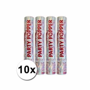 Grootverpakking met 10 zilveren party poppers