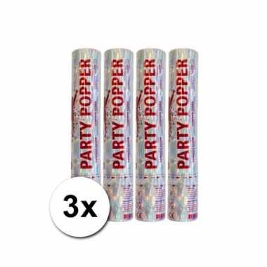 Grootverpakking met 3 zilveren party poppers