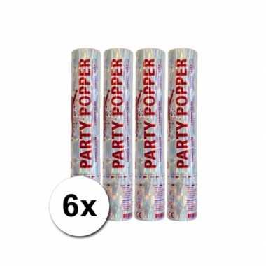 Grootverpakking met 6 zilveren party poppers