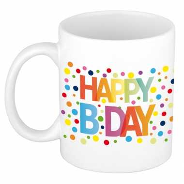Happy birthday met gekleurde confetti verjaardags koffiemok / theebek