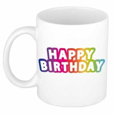 Happy birthday regenboog verjaardags koffiemok / theebeker 300 ml
