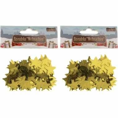 Kerst deco confetti gouden sterretjes glimmend 30 gram