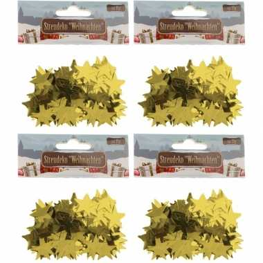 Kerst deco confetti gouden sterretjes glimmend 60 gram