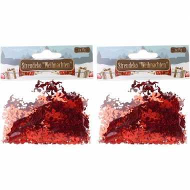 Kerst deco confetti rode engeltjes glimmend 30 gram