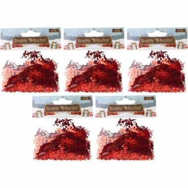 Kerst deco confetti rode engeltjes glimmend 75 gram