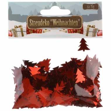 Kerst deco confetti rode kerstboompjes glimmend 15 gram