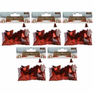 Kerst deco confetti rode kerstboompjes glimmend 75 gram
