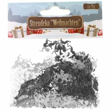 Kerst deco confetti zilveren engeltjes glimmend 15 gram