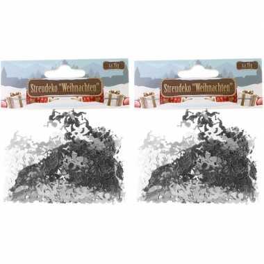 Kerst deco confetti zilveren engeltjes glimmend 30 gram