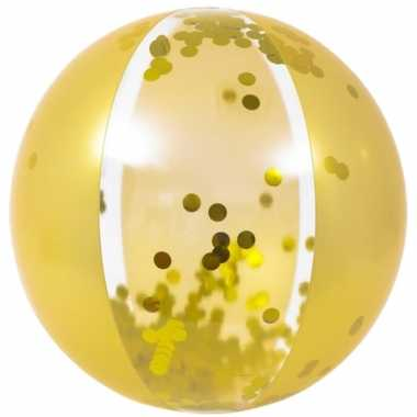 Opblaasbare zwembad strandbal goud van 50 cm