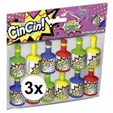 Party poppers 3x 12 stuks