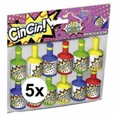 Party poppers 5x 12 stuks