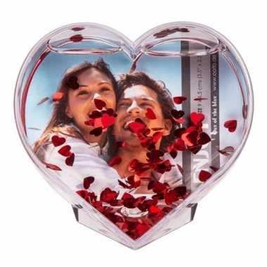 Snowglobe hart met confetti