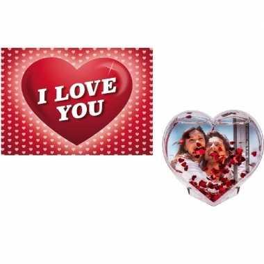 Valentijn - valentijsdag cadeau 3d hart fotolijst met valentijnskaart