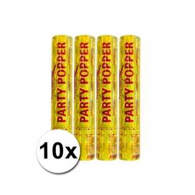 Voordeelverpakking met 10 gouden party poppers