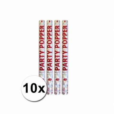 Voordeelverpakking met 10 zilveren party poppers