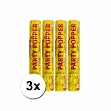 Voordeelverpakking met 3 gouden party poppers