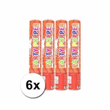 Voordeelverpakking met 6x rode party popper 28 cm