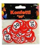 2x zakje confetti 30 jaar thema verkeersbord 14 gram