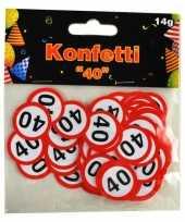 2x zakjes confetti 40 jaar thema verkeersbord feestartikelen