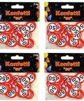 4x confetti 50 jaar verkeersbord zakjes 14 gram
