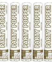 5x party popper goud en zilver 26 cm