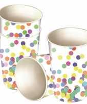 8x confetti thema feest bekers van karton 250 ml
