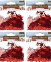 Kerst deco confetti rode engeltjes glimmend 60 gram