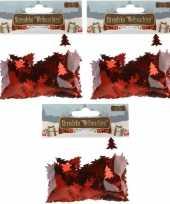 Kerst deco confetti rode kerstboompjes glimmend 45 gram